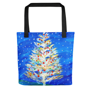 Christmas Tree In Snow • Tote bag