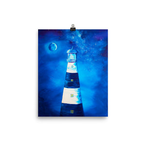 Moonlight Lighthouse Art Print