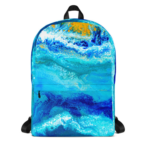 Blue Gold Ocean Abstract Backpack