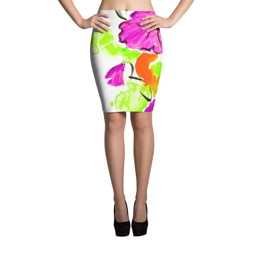 Purple Flowers On Orange Pencil Skirt