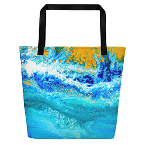 Blue Gold Ocean Abstract Beach Bag