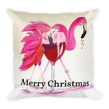 Merry Christmas Flamingos • Square Pillow