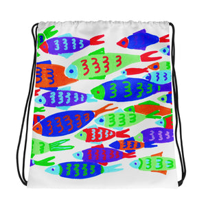 Colorful Fish Drawstring Bag
