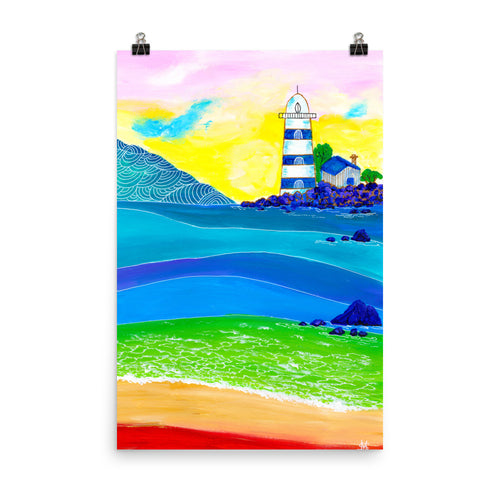 Blue and White Lighthouse • Art Print