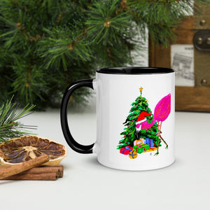Flamingo Christmas Tree 🦩 Mug with Color Inside