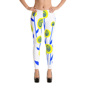 Yellow and Blue Flowers Leggings