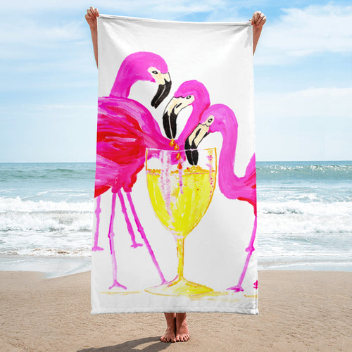 Three Flamingos in White Wine • Towel