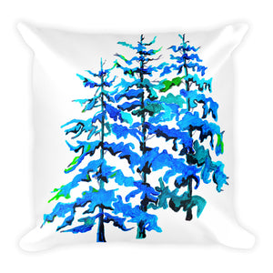 Blue Pine Trees • Square Pillow