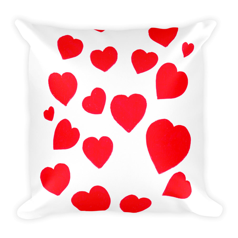 Red Hearts Square Pillow