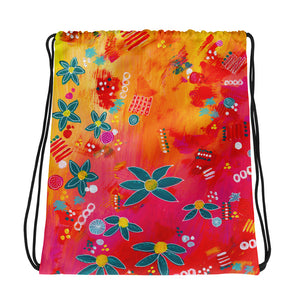 Yellow Floral Abstract • Drawstring bag