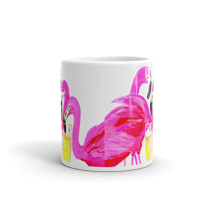 Three Flamingos in White Wine • Mug