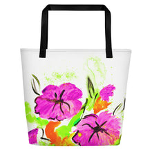 Purple Flowers On Orange Beach Bag