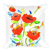 Poppies On Blue • Square Pillow