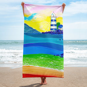 Blue and White Lighthouse • Towel