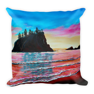 La Push Pink Beach • Square Pillow