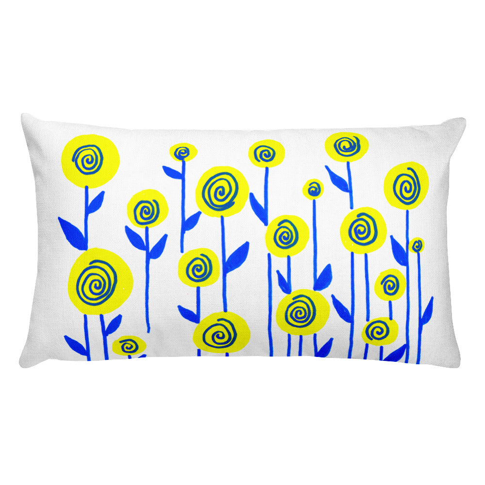 Yellow and Blue Flowers Rectangular Pillow