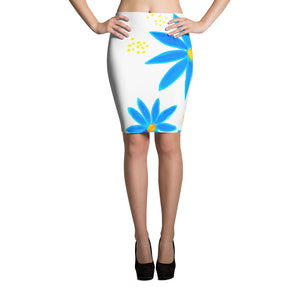 Blue Daisies • Pencil Skirt