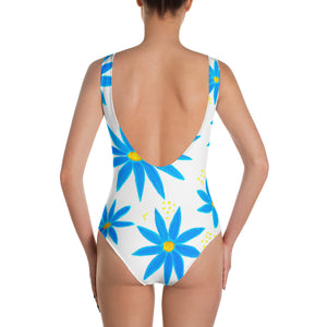 Blue Daisies One-Piece Swimsuit