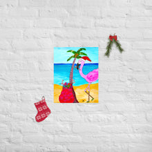 Flamingo Christmas Palm Tree Art Print