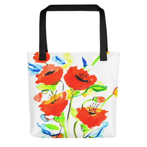 Poppies On Blue • Tote Bag