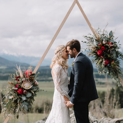 Wanaka wedding venue triangle arch