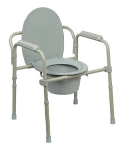 Commode Chair McKesson Fixed Arm Steel Frame Steel Back Bar / Seat Lid Back 15.5 to 21.75 Inch - astoreformom.com