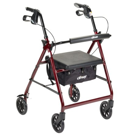 4 Wheel Rollator McKesson 32 to 37 Inch Red Folding Aluminum 32 to 37 Inch - astoreformom.com