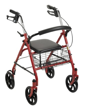 4 Wheel Rollator McKesson 31 to 37 Inch Red Folding Steel 31 to 37 Inch - astoreformom.com