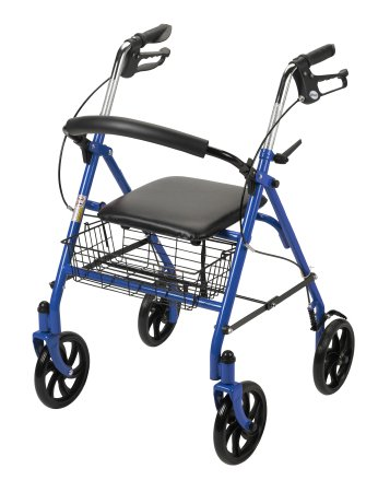4 Wheel Rollator McKesson 31 to 37 Inch Blue Folding Steel 31 to 37 Inch - astoreformom.com