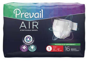 96 COUNT (Brief) - Adult Incontinent Brief Prevail Air™ Tab Closure Size 1 - 26 to 48 Inch Waist - Disposable Heavy Absorbency - astoreformom.com
