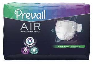 96 COUNT (Brief) - Adult Incontinent Brief Prevail Air™ Tab Closure Size 2 - 45 to 62 Inch Waist - Disposable Heavy Absorbency - astoreformom.com