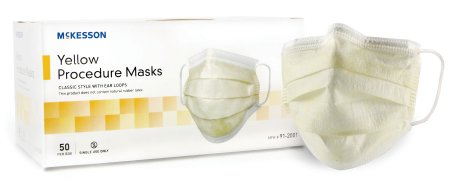 (500 Count) Procedure Mask McKesson Pleated Earloops One Size Fits Most Yellow - astoreformom.com