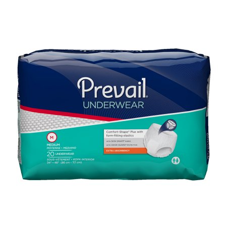 80 COUNT (Pull On) - Adult Absorbent Underwear Prevail® Extra Pull On Medium 34 to 46 Inch Waist - Disposable Moderate Absorbency - astoreformom.com