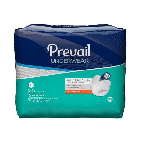 72 COUNT (Pull On) - Adult Absorbent Underwear Prevail® Extra Pull On Large 44 to 58 Inch Waist - Disposable Moderate Absorbency - astoreformom.com