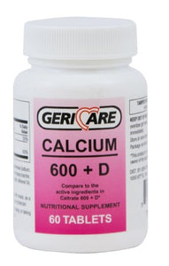 Calcium with Vitamin D Supplement Geri-Care 200 IU / 600 mg Strength Tablet 60 per Bottle - astoreformom.com