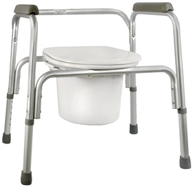Commode Chair SunMark® Fixed Arm Aluminum Frame Seat Lid Back 16 to 22 Inch - astoreformom.com