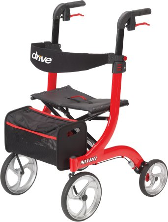 4 Wheel Rollator Nitro Red Adjustable Height Aluminum - astoreformom.com