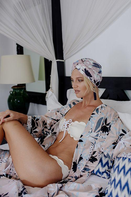 Silk Robe - Everyday Luxury - SASKIA in Soft Pink Floral, Australian Designer