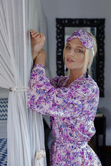 Silk Robe - Everyday Luxury - SASKIA in Pink Painterly Floral,Australian Designer