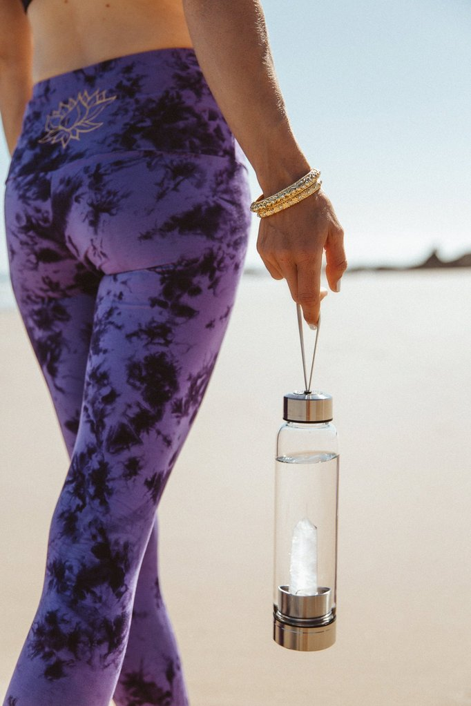 Crystal Water Bottle - Amethyst Obelisk Wand Crystal Infused Water Glass bottle - PROTECTION
