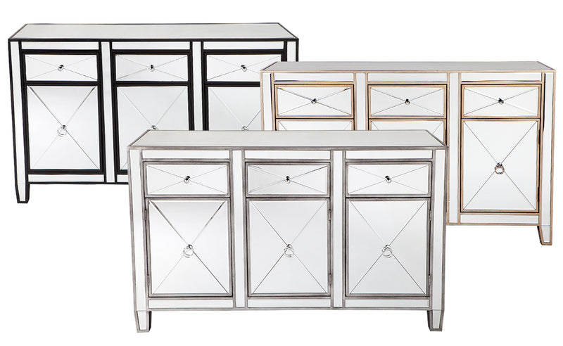 Antique Mirror Furniture - Buffet 3 Drawers - SILVER