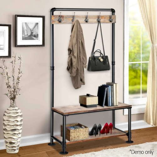 Coat And Bag Rack - Rustic Vintage Finish For Hallway Cloak Room