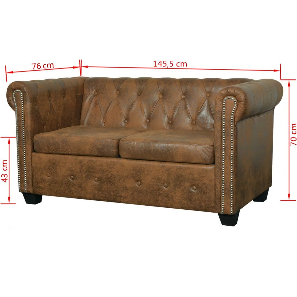Chesterfield Sofa 2-Seater Faux Leather - Brown