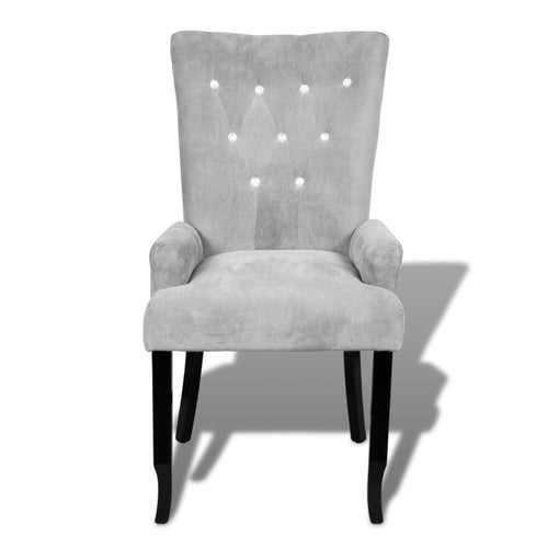 Velvet Armchair with Crystal detail - SILVER