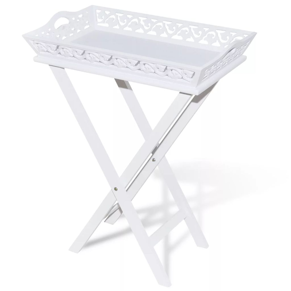 White Tray Pot Side Table
