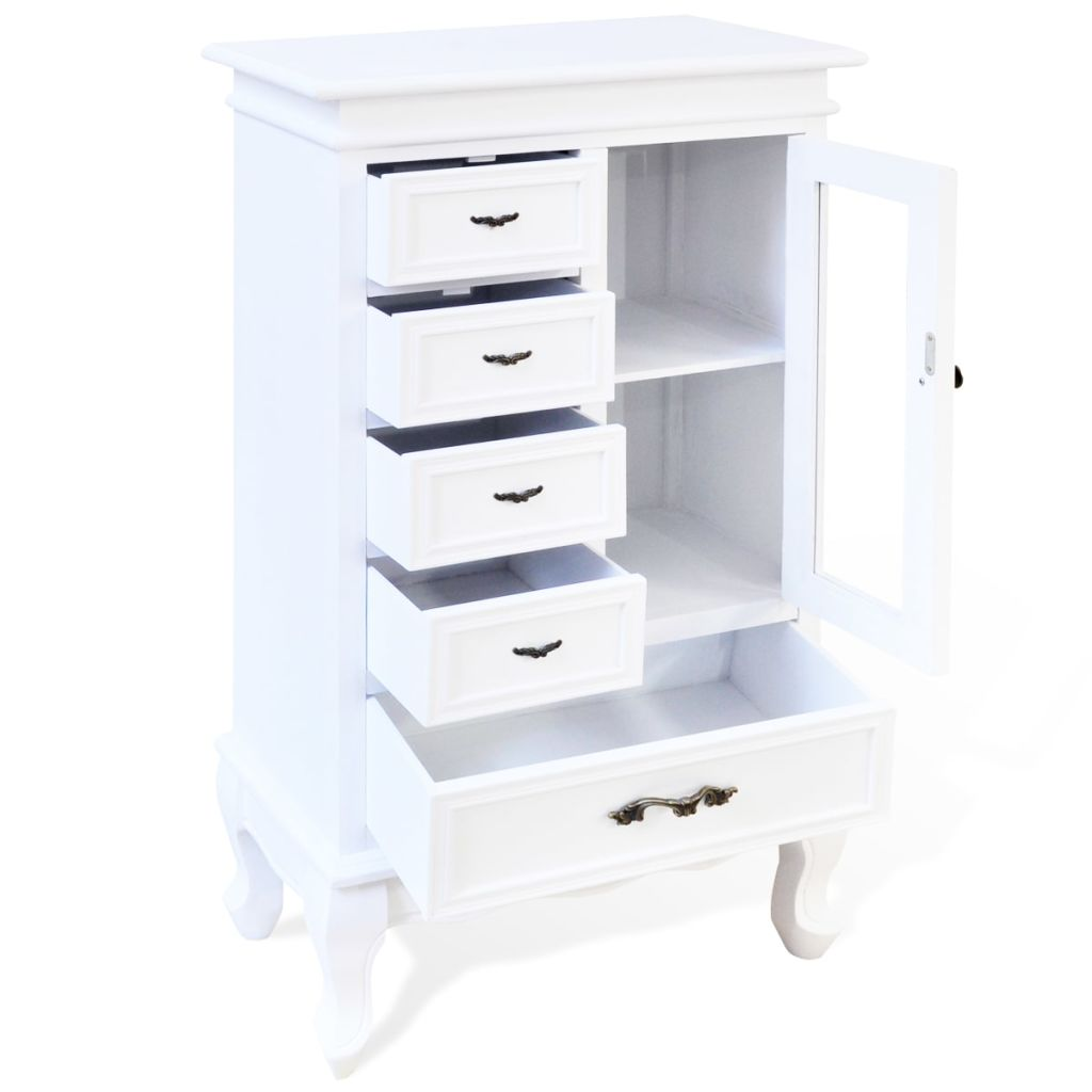 French Provincial Cabinet with 5 Drawers 2 Shelves White - Makeup, Bedroom storage