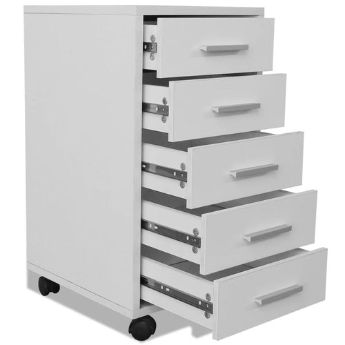 Office Drawer Unit with Castors 5 Drawers White