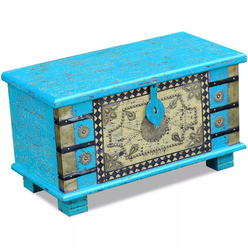 Turquoise Rustic  Indian Storage Chest -Blue Mango Wood 80x40x45 cm