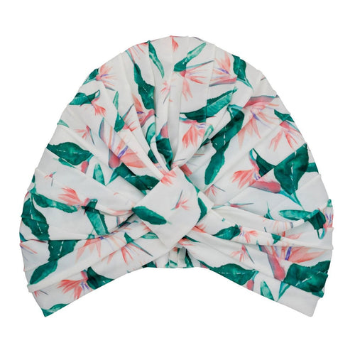 Chic Shower Turban/Cap- AMELIE in Hawaiian Bird of Paradise, Australian design