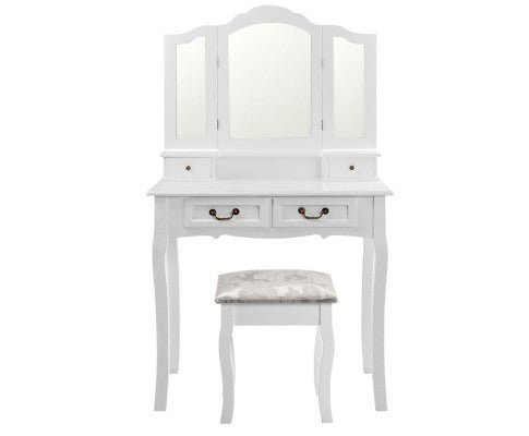 Luxury 4-Drawer Dressing Table, Vanity w/ Mirror - White